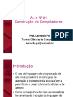 Construção de Compiladores - Aula Nº 01 - Introducao Aos Compiladores