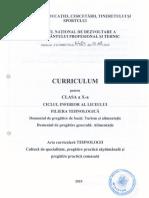 Curriculum Tehnic Turism Alimentatie 10