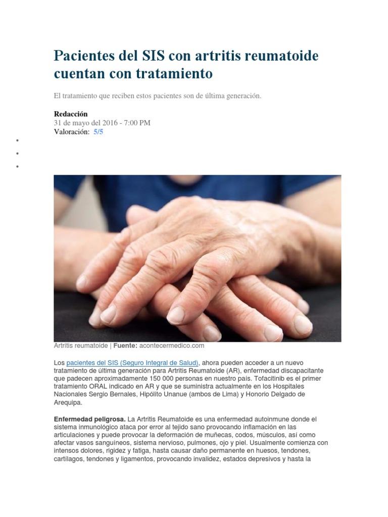 tratamiento en paciente con artritis reumatoide