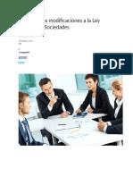 Las Recientes Modificaciones a La Ley General de Sociedades