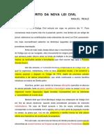 Espirito da Nova Lei Civil, de Miguel Reale (Artigo)