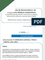 Padronização de Nomenclatura  de Dispositivos Médicos Implantáveis (Compatibilização MS-SIGTAP,  Nomenclatura ANVISA,  Nomenclatura ANS com a Nomenclatura GMDN)