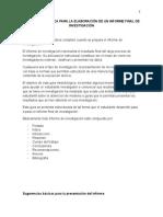 Guia Metodologica Para La Elaboración de Un Informe Final de Investigación