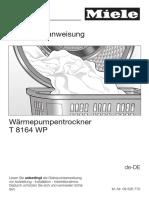 Wäschtrockner Miele T8164 Anleitung
