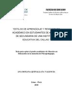 2010_Quinallata_Estilos de aprendizaje y rendimiento académico en estudiantes de 4° y 5° de secundaria de una institución educativa del Callao