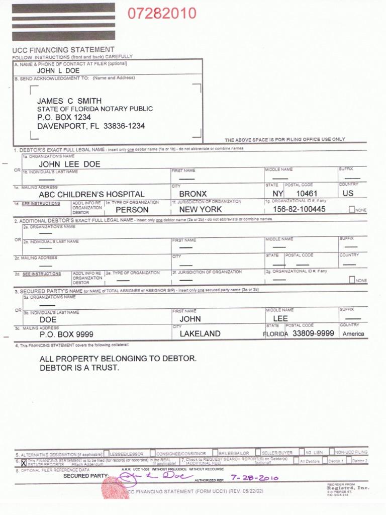 Sample Ucc 1 Property List