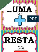 Palabras Suma y Resta