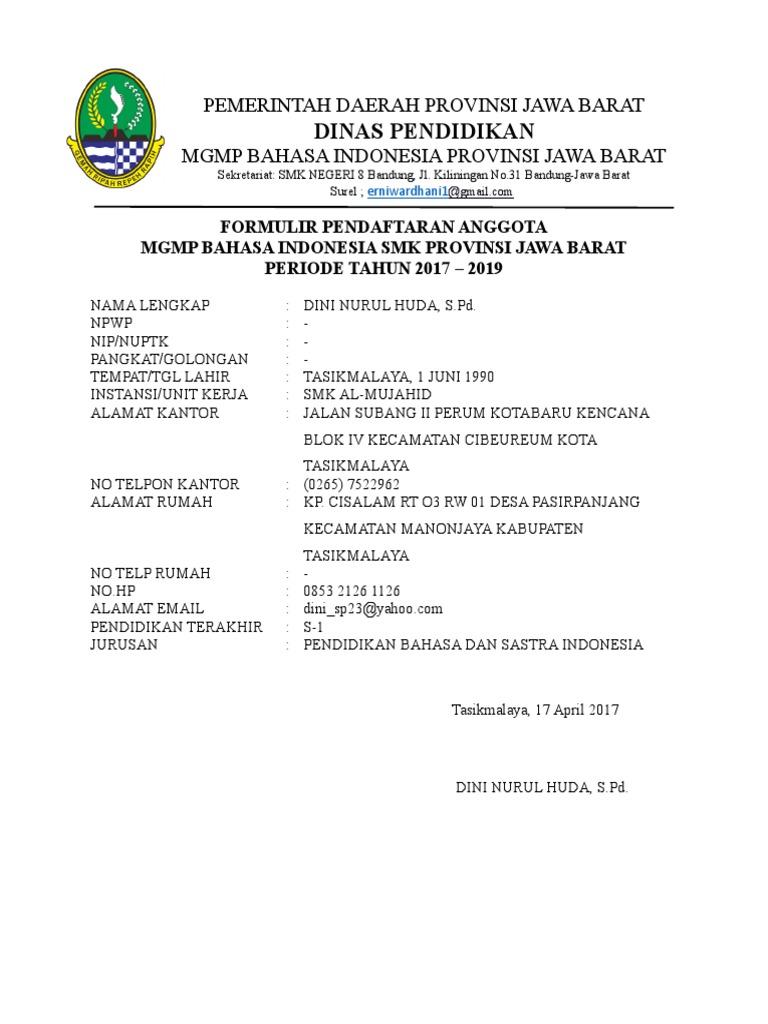 Formulir Anggota MGMP Jabar docx