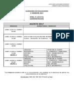 CALENDARIO EVALUACIONES 2° SEMESTRE 2017 TERCERO ADMINISTRACION