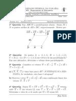 Prova anterior de Geometria analítica