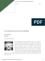 La Importancia de La Soledad – Un Blog Para La Inmensa Minoría