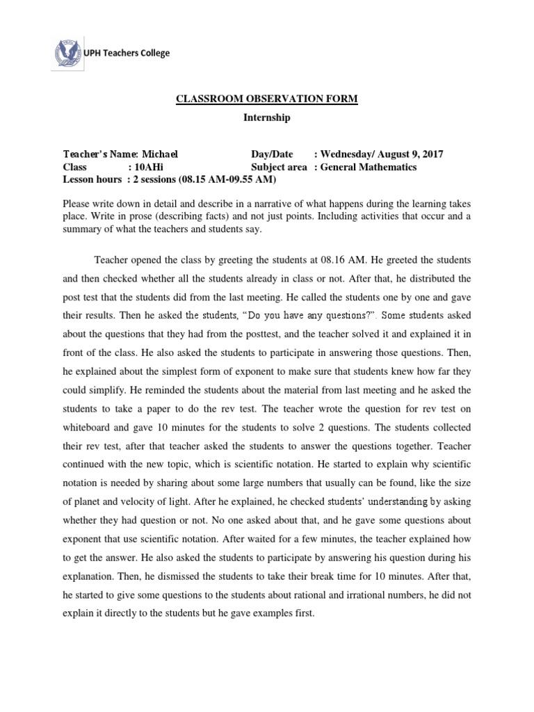 Observasi 2 (Michael) | Classroom | Teachers