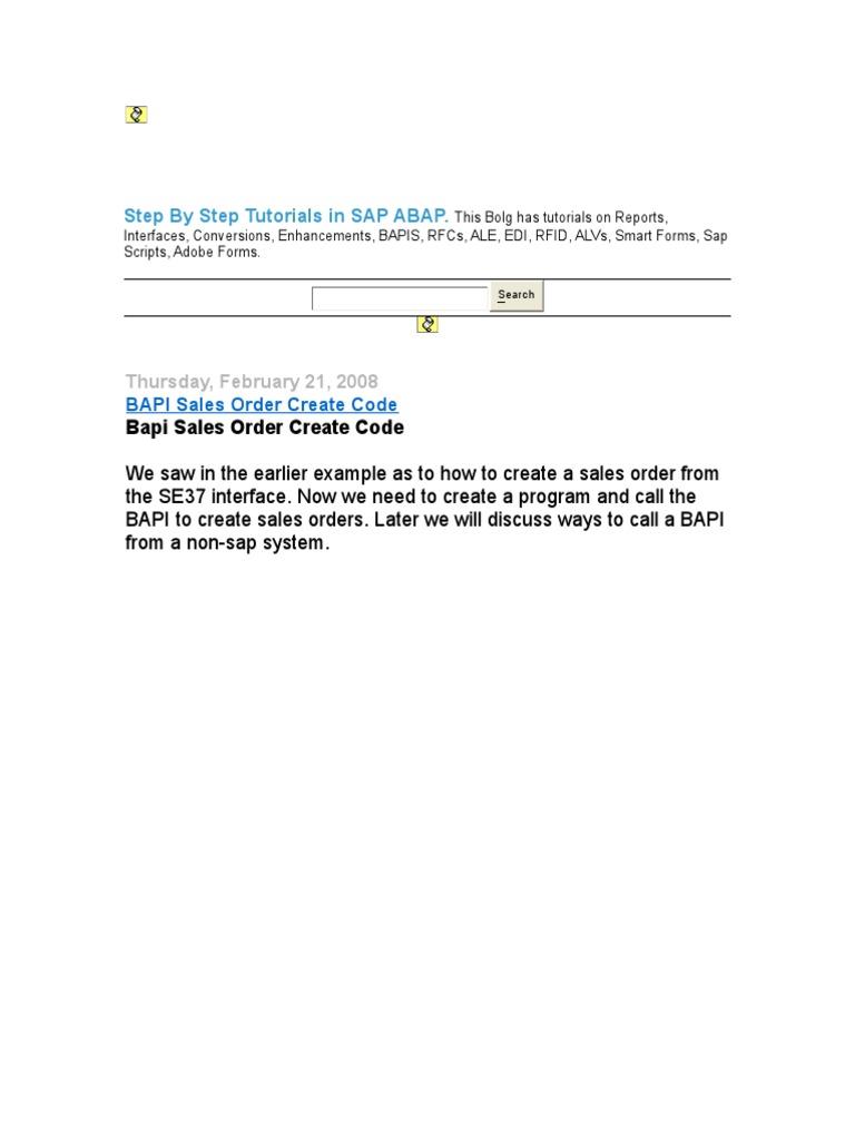 Step By Step Tutorials in Bapi-SAP ABAP doc