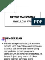Metode Transportasi - Solusi Awal (NWC, LC, VAM)