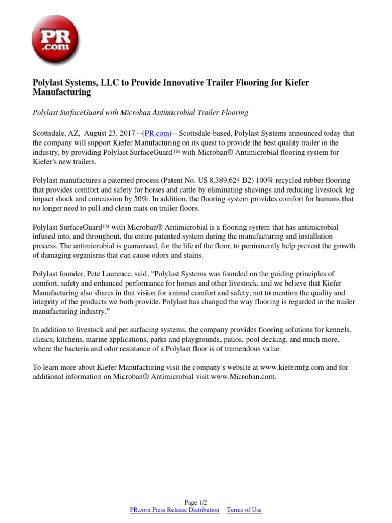 Polylast Systems, LLC To Provide Innovative Trailer Flooring For Kiefer  Manufacturing | Antimicrobial