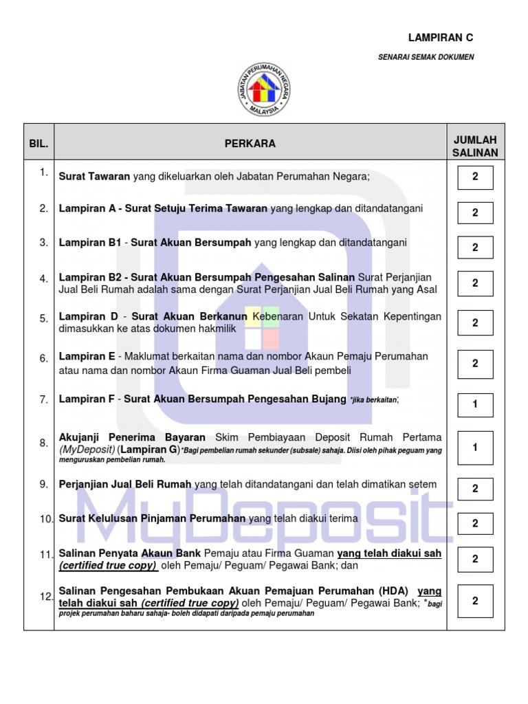 Lampiran C New Senarai Semak Dokumen Docx