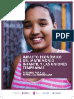 Impacto Económico del Matrimonio Infantil y las Uniones Tempranas. Resumen para la República Dominicana