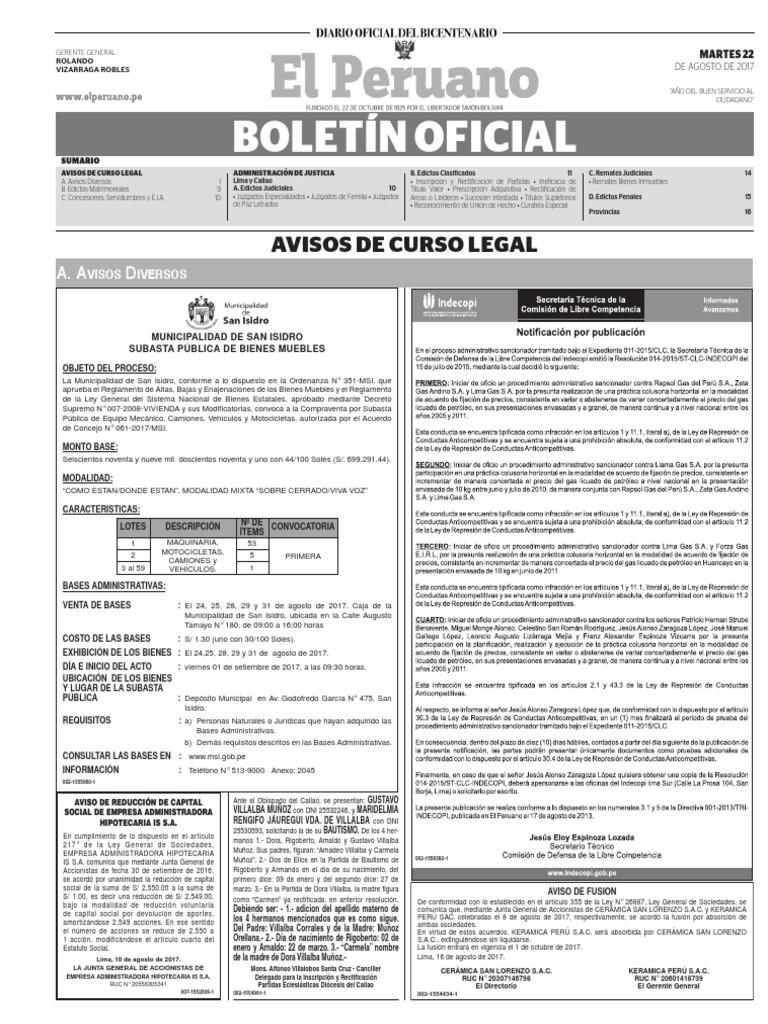 Diario Oficial El Peruano, Edición 9795. 22 de agosto de 2017