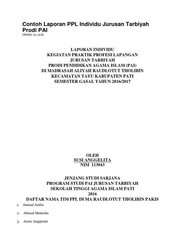 Contoh Laporan Ppl Individu Jurusan Tarbiyah Prodi Pai Docx