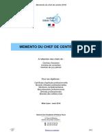 Memento Du Chef de Centre - 2016