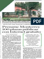 19-08-17 Presume Monterrey  100 plazas públicas  con Internet gratuito