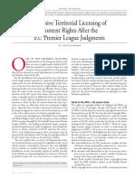 Antitrust Article on Exclusive Territorial Licensing