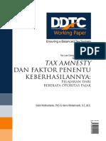 Working Paper Tax Amnesty Dan Faktor Penentu Keberhasilannya Pelajaran Dari Beberapa Otoritas Pajak