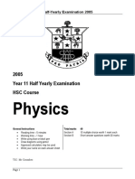 Hurlstone 2005 Physics Prelim HY & Solutions