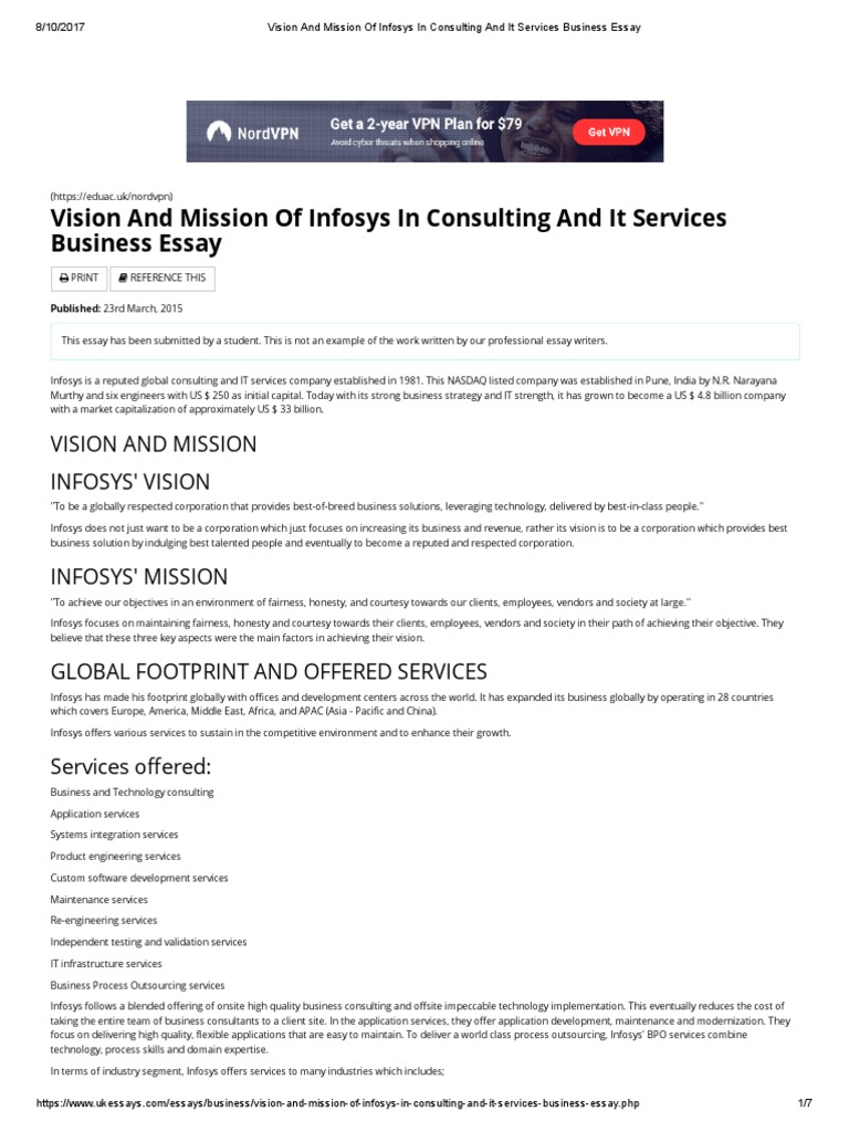 vision and mission of infosys in consulting and it services business  vision and mission of infosys in consulting and it services business essay   outsourcing  business process outsourcing