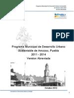 Programa Municipal de Desarrollo Urbano Sustentable de Amozoc, Puebla, versión abreviada