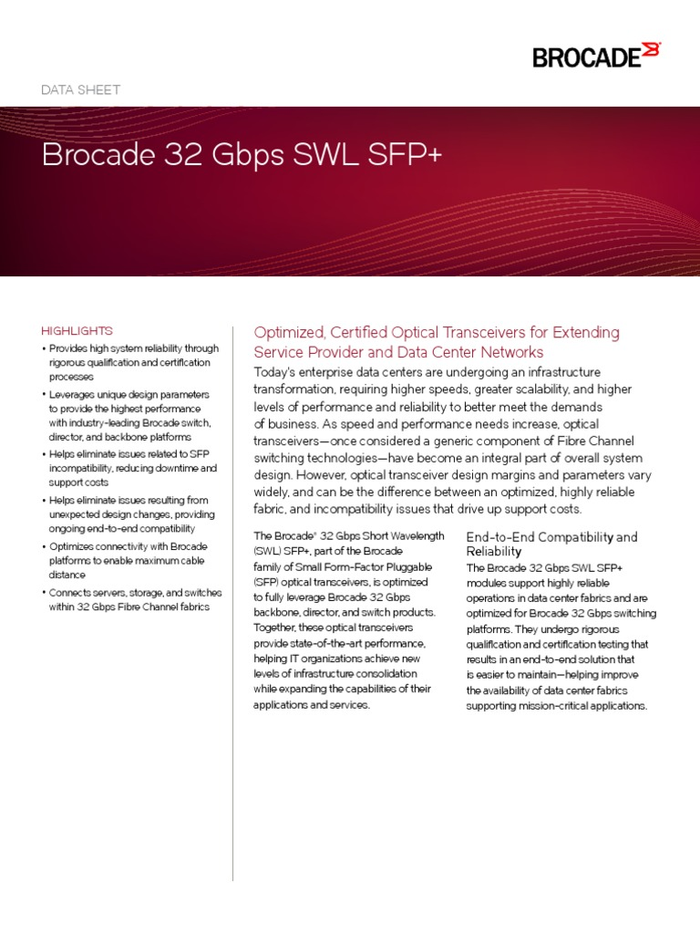 Brocade 32gbps Swl Sfp Ds Physical Layer Protocols Computer