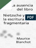 Blanchot Maurice - La Ausencia Del Libro