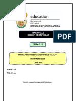 Afrikaans SAL P1 Nov 2009 (Limpopo)