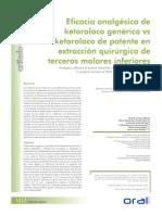 Ketorolaco generico vs patente comparación de eficacia terapéutica