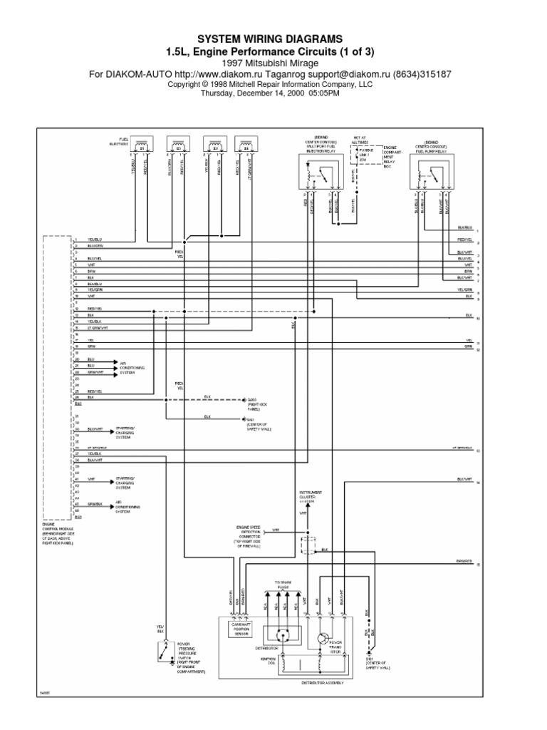 15l Engine Performance Circuits 1997 Mitsubishi Mirage Wiring Diagram