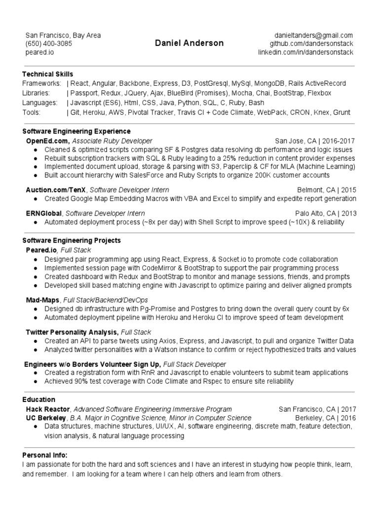 Daniel Anderson Resume | Postgre Sql | Twitter