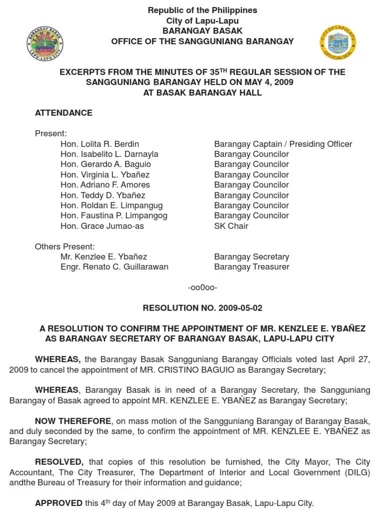 Reso 2009 05 02 Kenzlee Ybanez Brgy Secretary