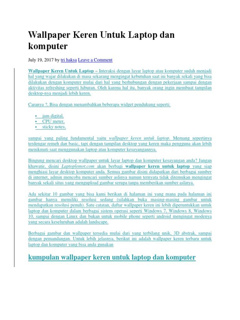 Wallpaper Keren Untuk Laptop Dan Komputerdocx