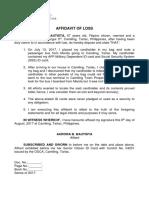 Affidavit of Loss - Aurora (Cardholder)