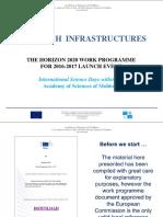 Research Infrastructures & EInfrastructures APELURI 2016-2017