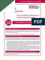 Guía Núm. 24. Cómo Constituir y Matricular Una Empresa Unipersonal o EU