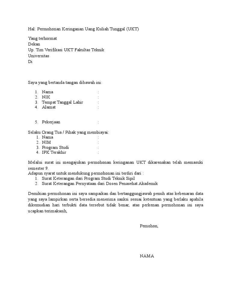 Surat Permohonan Penurunan Ukt Wali