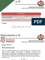 Matemática II - Integrais Definidos