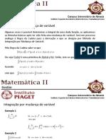 Matemática II - Integração -Substituicao