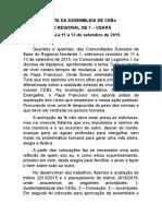 Carta Da Assembleia Regional de Cebs Do Regional Ne 1 Em Itapipoca