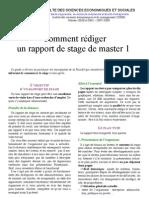 Comment rédiger un rapport de stage de Master 1
