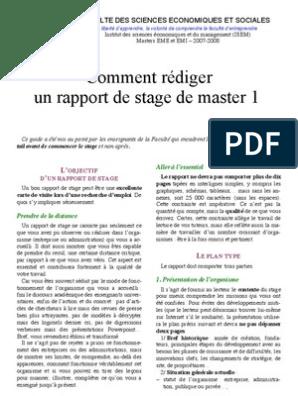 Comment Rédiger Un Rapport De Stage De Master 1 Dé