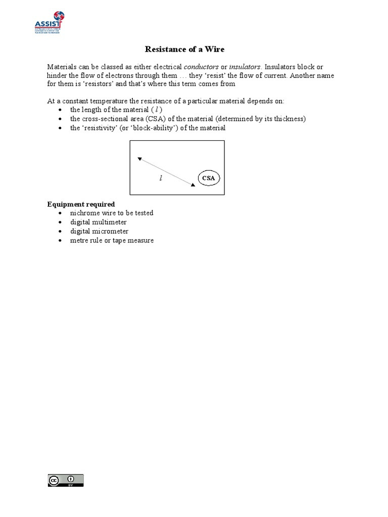 Resistance of a Wire - Sample Answers_0 | Electrical Resistivity And ...