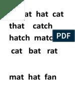 At Sat Hat Cat That Catch Hatch Match