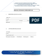 Capa de Relatório de Atividade Complementar